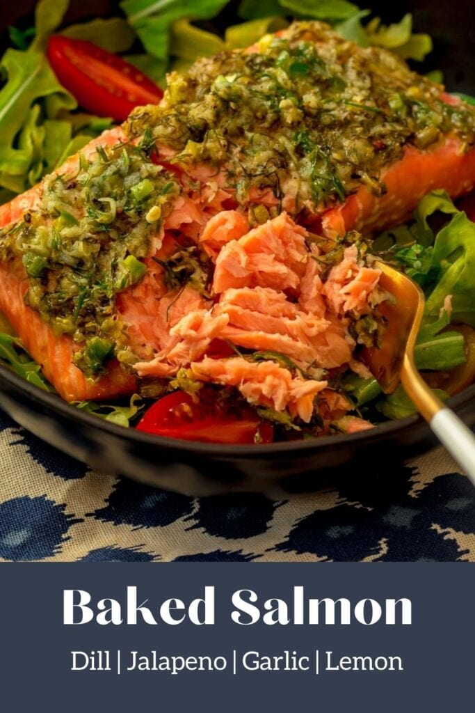 salmon in a bowl with salad and text overlay