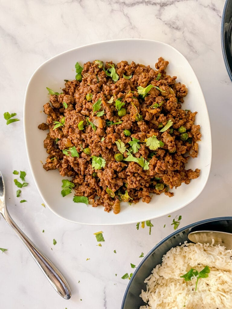 keema in a bowl with rice
