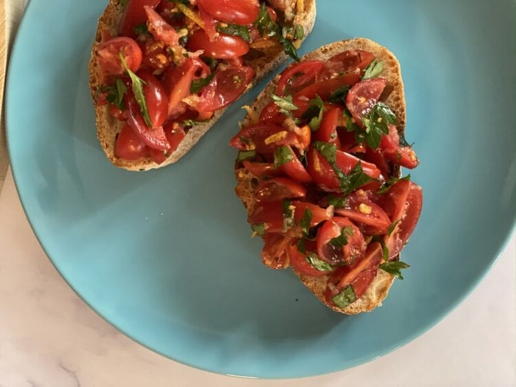 Garlic and Cherry Tomato Bruschetta