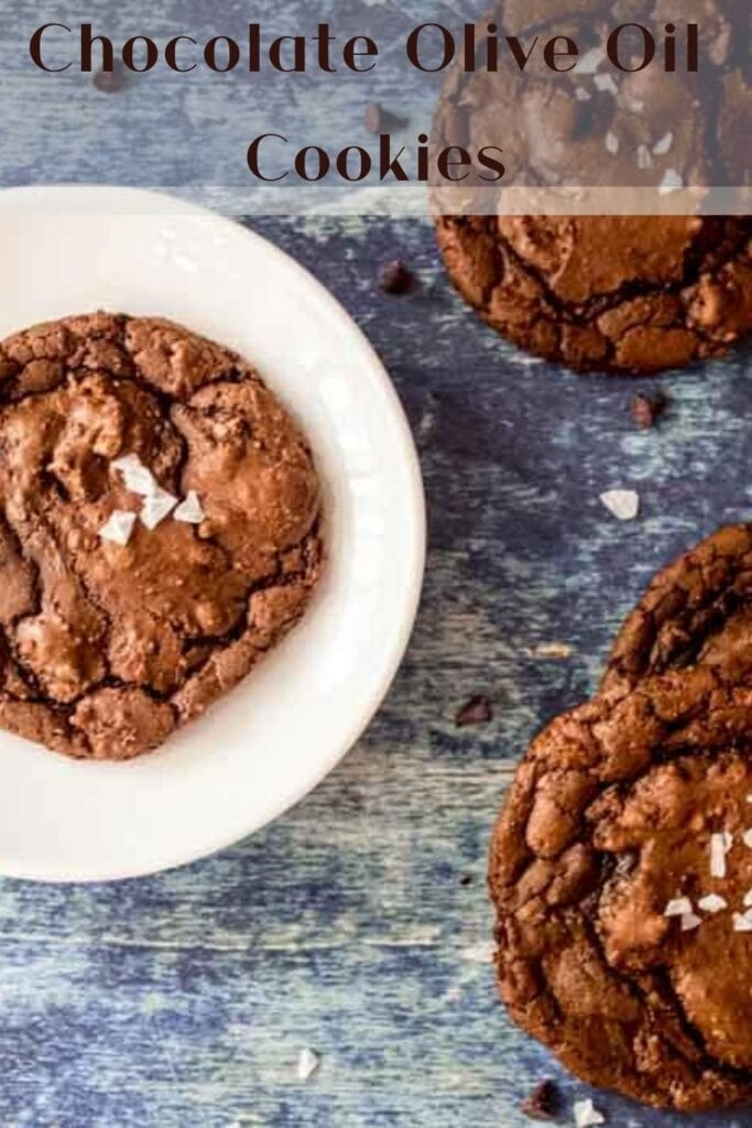 chocolate olive oil cookies with text overlay