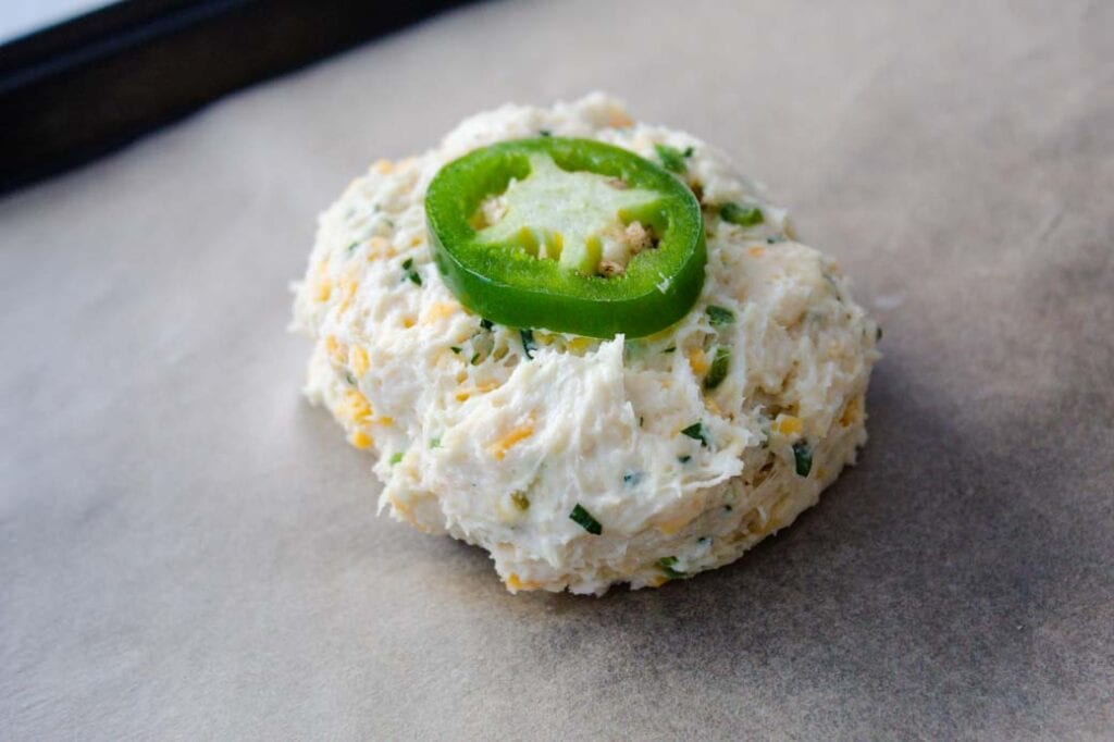 cheddar and jalapeno buttermilk biscuits dough portioned for baking