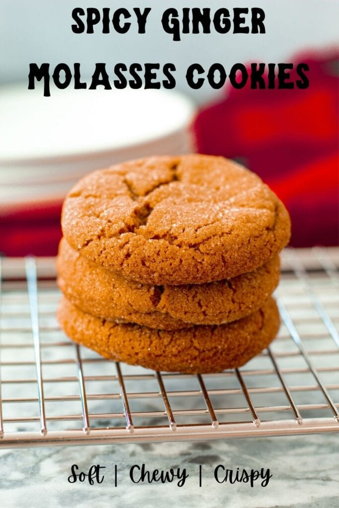 stacked ginger cookies with text overlay